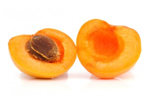 Ripe apricot with a stone