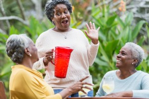 Senior black women gossiping