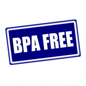 BPA FREE white stamp text on blue background
