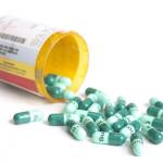 Antibiotic prescription container open.