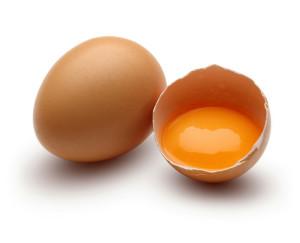 Brown raw chicken eggs