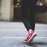 walking in red shoes