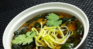 Japanese food; Miso soup with kelp noodles