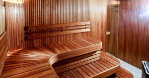 inside of a wooden plank sauna