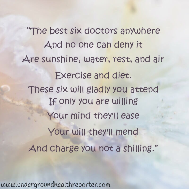 a poem about the best six doctors being sunshine, water, rest, air, exercise, and diet.
