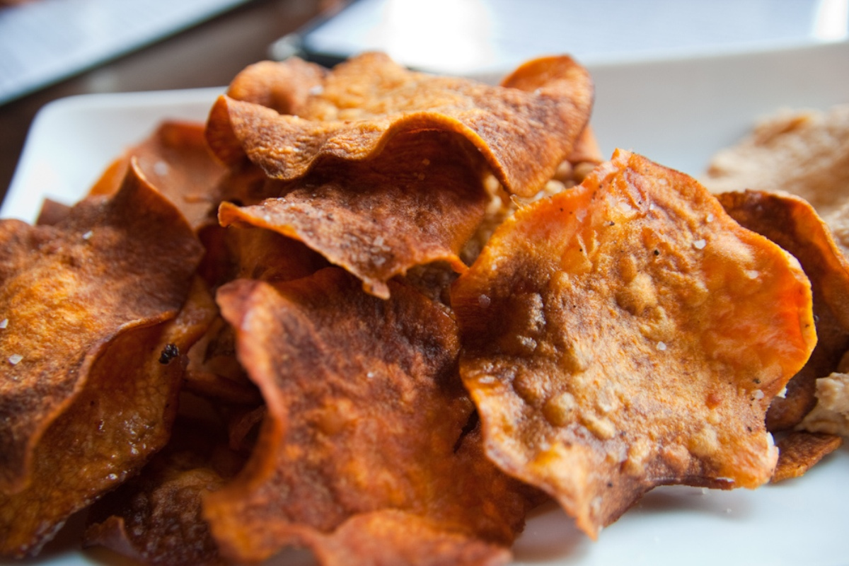 close up of crunchy sweet potato chips