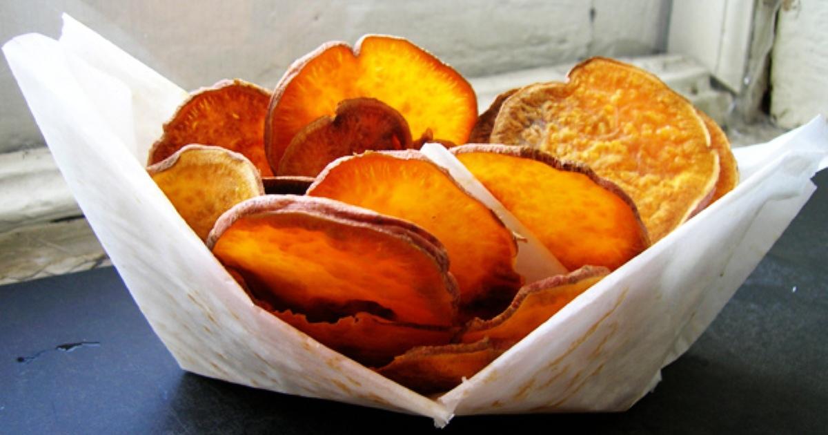sweet potato chips in a wax basket