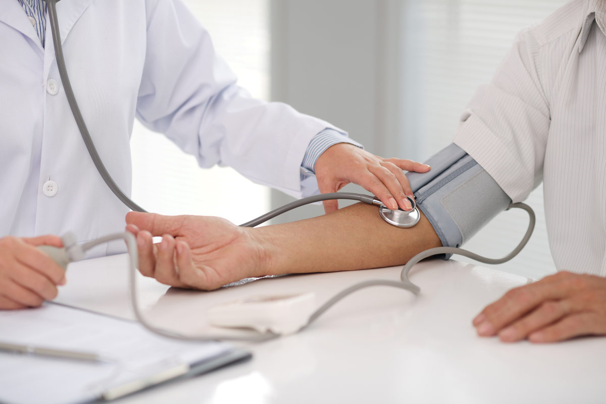 Stethoscope checking blood pressure