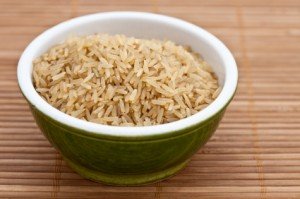 Brown rice in a green bowl