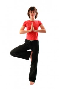 Yoga poses series. Tree Pose. Vrikshasana.
