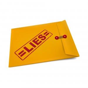 lies stamp on manila envelope