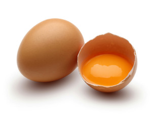 Brown raw chicken eggs