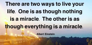 "Albert Einstein said: ""There are two ways to live your life. One is as though nothing is a miracle. The other is as though everything is a miracle"""
