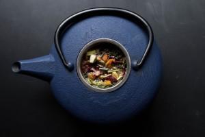 herbs in a blue teakettle