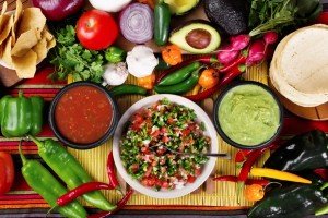 salsa, peppers, tortillas, and other traditional mexican foods