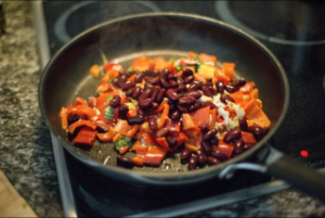 vegetables in cast iron dutch oven