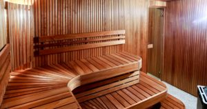 inside of a wooden plank sauna