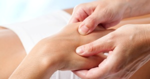 Macro close up of Therapeutic hand massage.