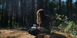 A person sitting in nature
