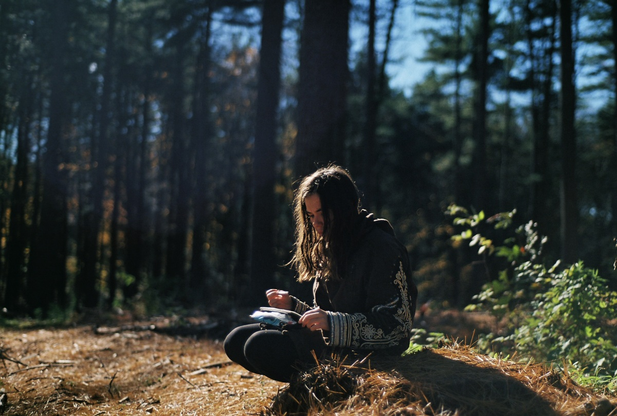 Person sitting in nature