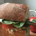 vegan tuna sandwich on a cutting board