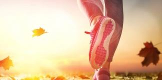 sunny close-up of running legs