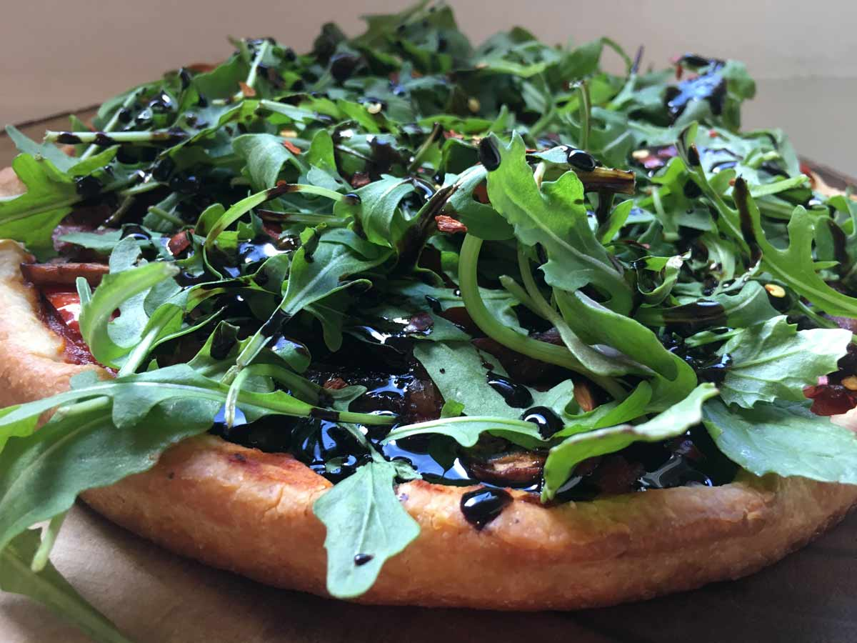 Vegan Pizza with Balsamic Reduction and Arrugala