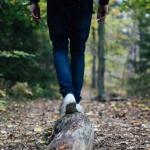 walking along a log on a nature path