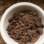 chocolate chunks in a white bowl