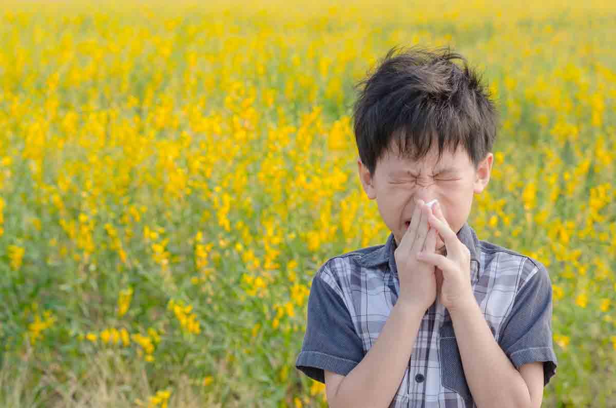 sneezing boy standing in a field of flowers